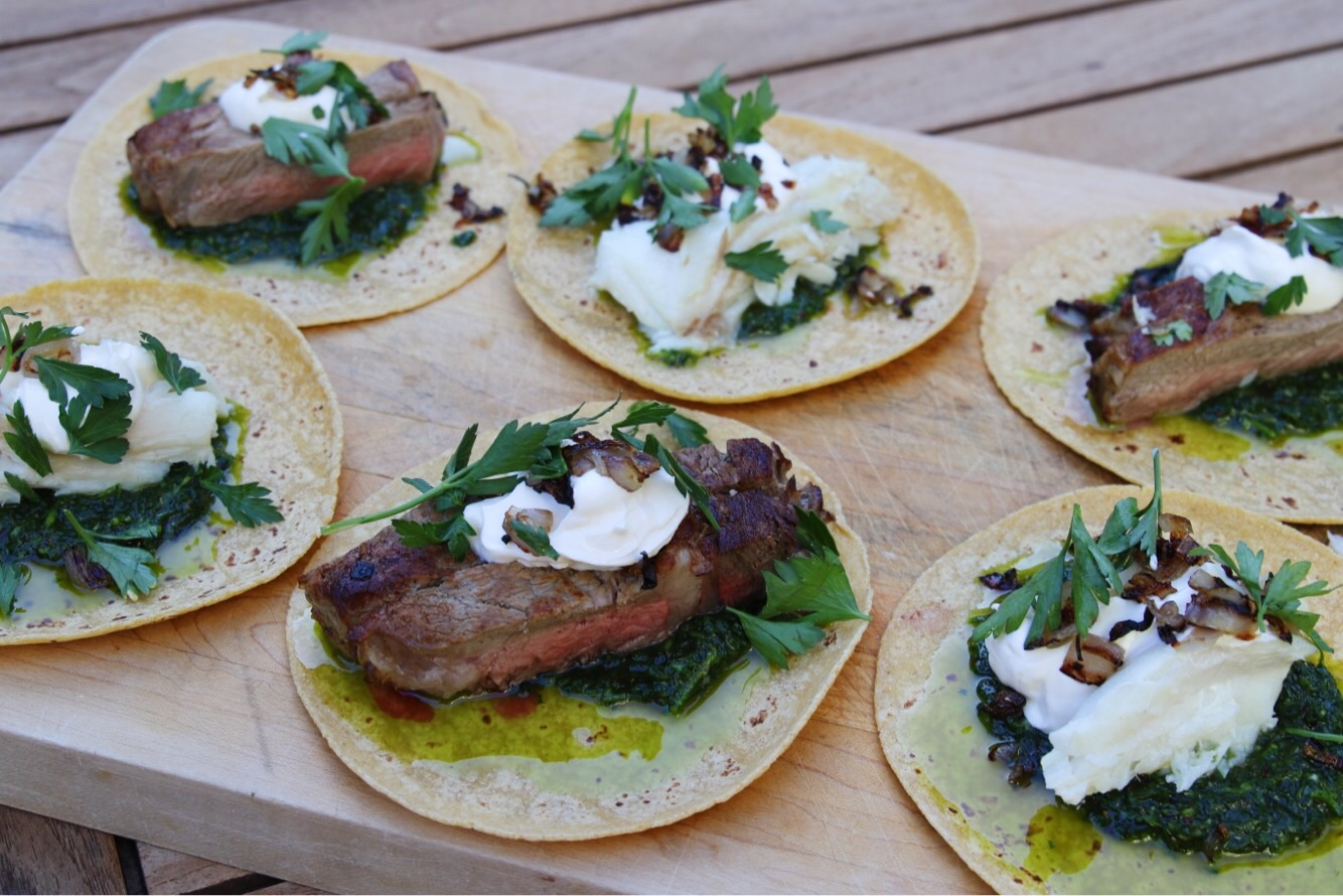steak and halibut tacos with chimichurri sauce