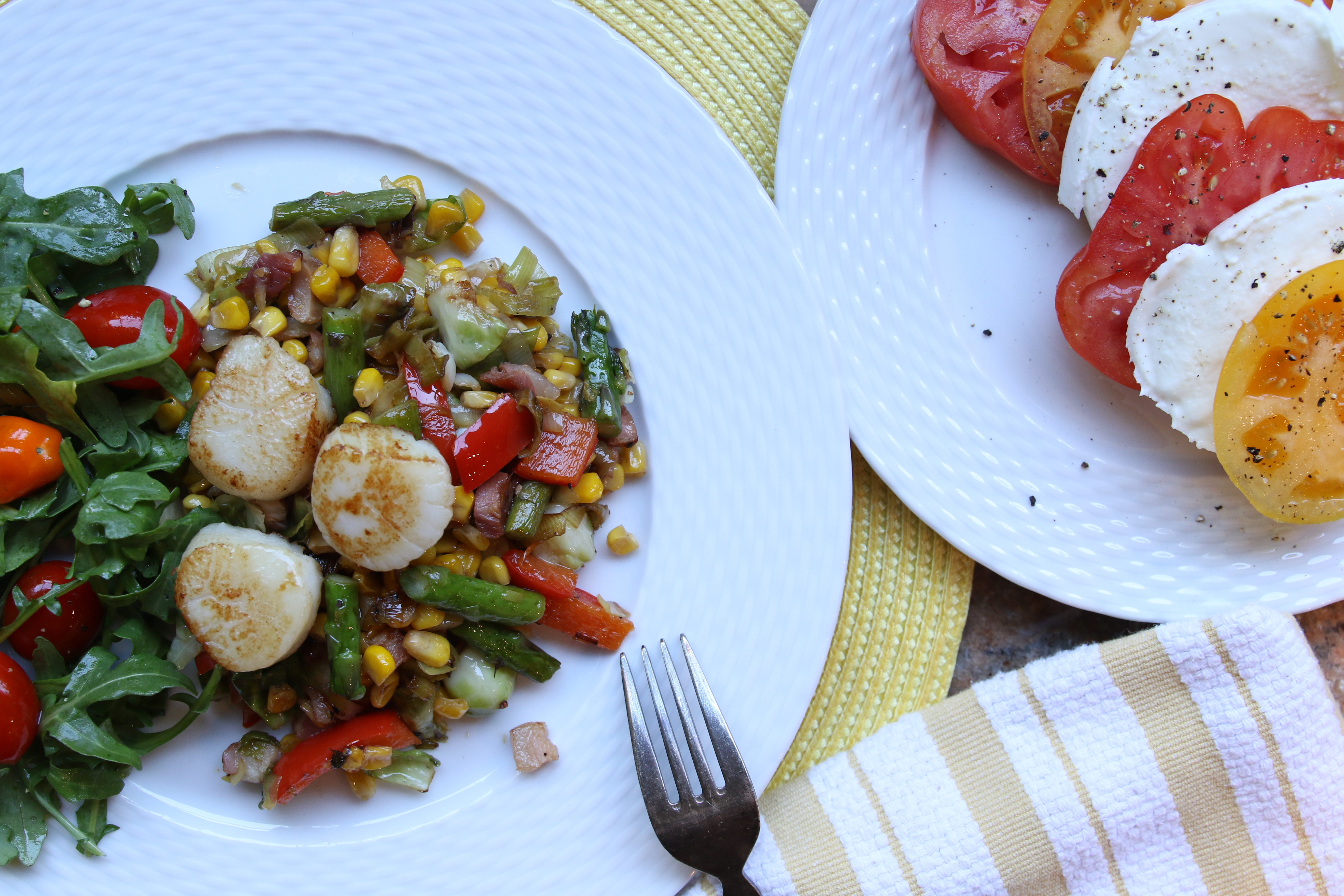 scallops with a corn and pancetta salad