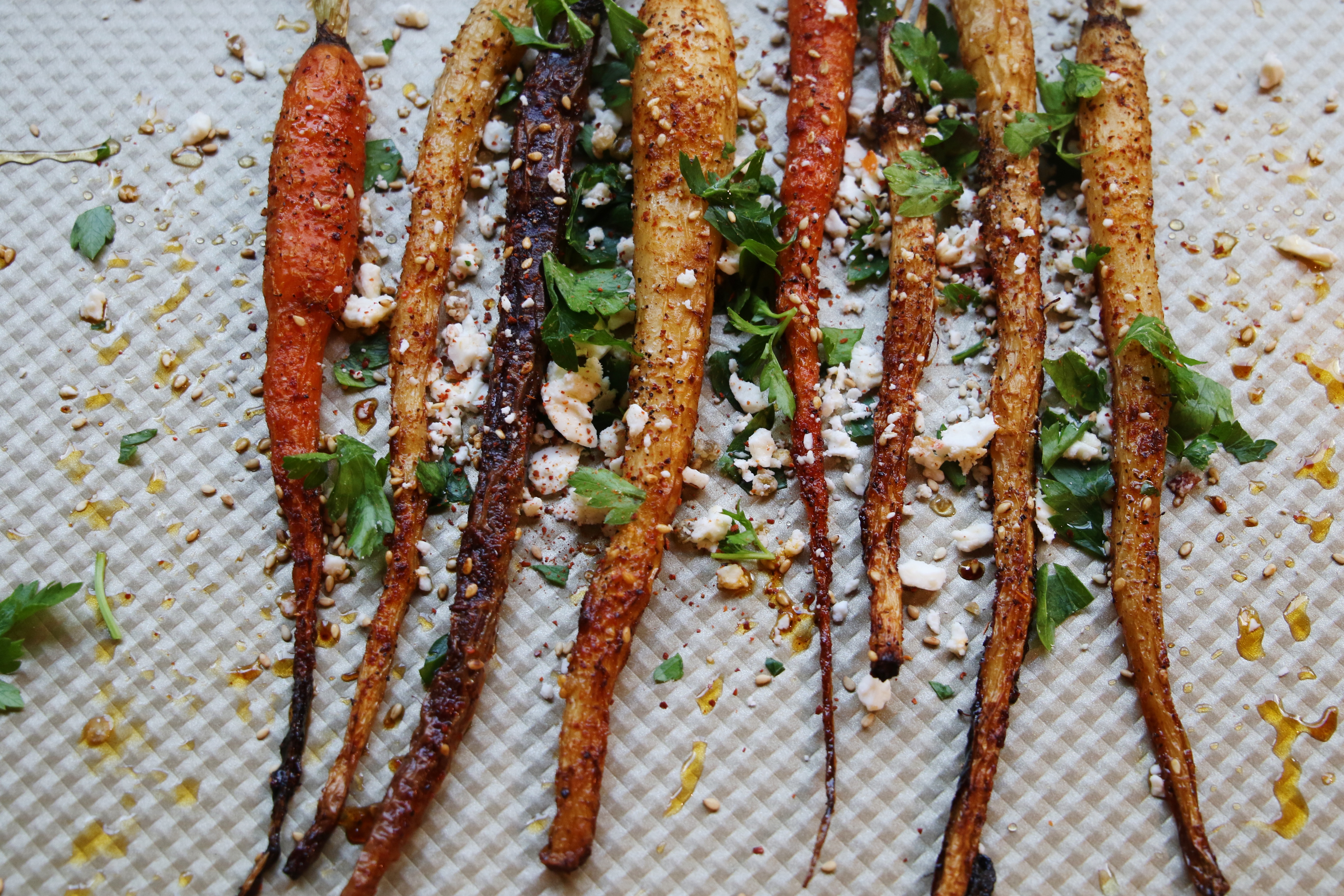 roasted spicy carrots with goat cheese and honey for a dinner side recipe