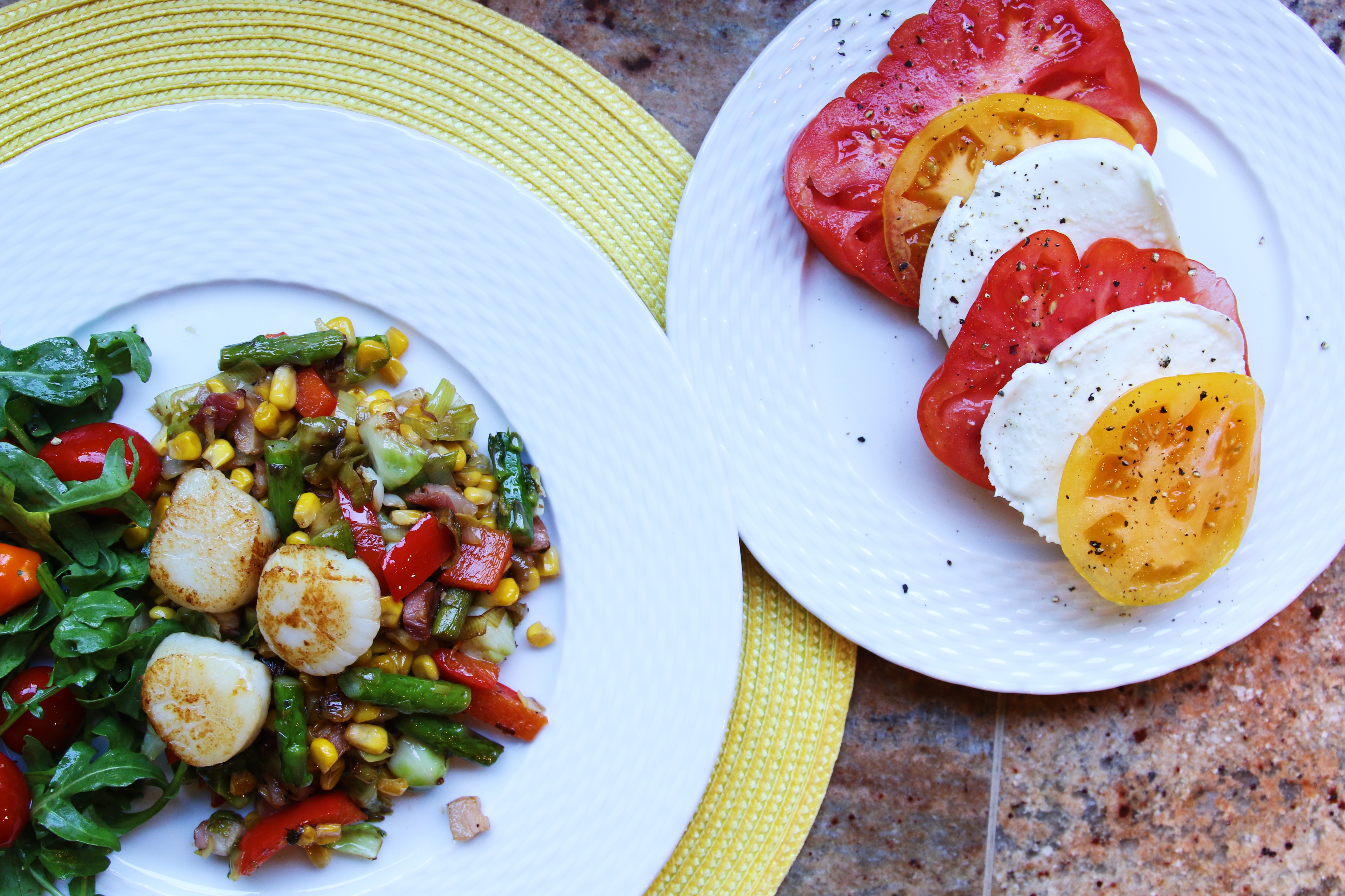 scallops with a corn and pancetta salad recipe