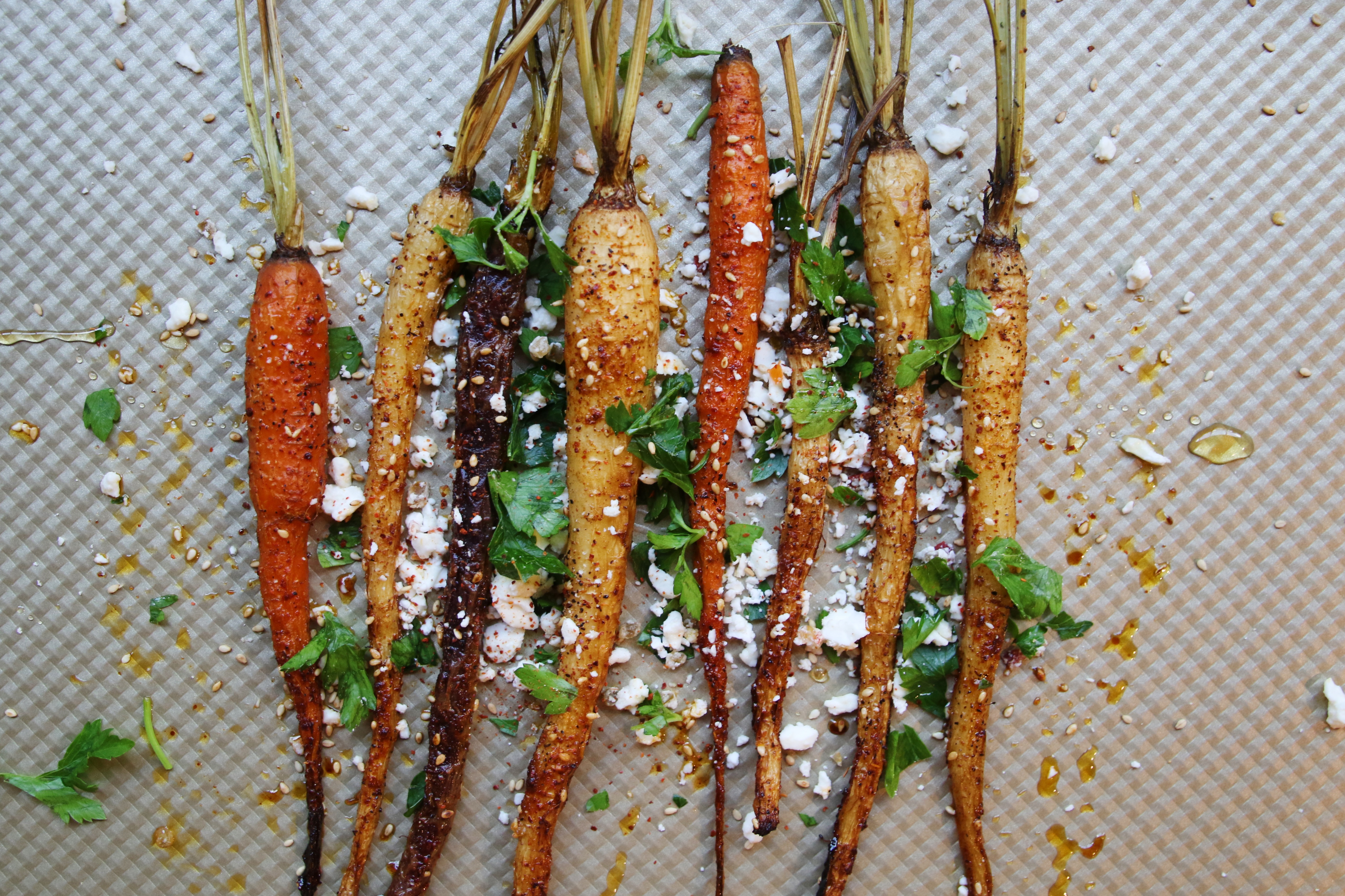 spicy roasted rainbow carrot recipe with goat cheese