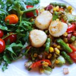 corn and pancetta salad with scallops recipe