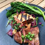 grilled salmon and purple cabbage salad with peaches