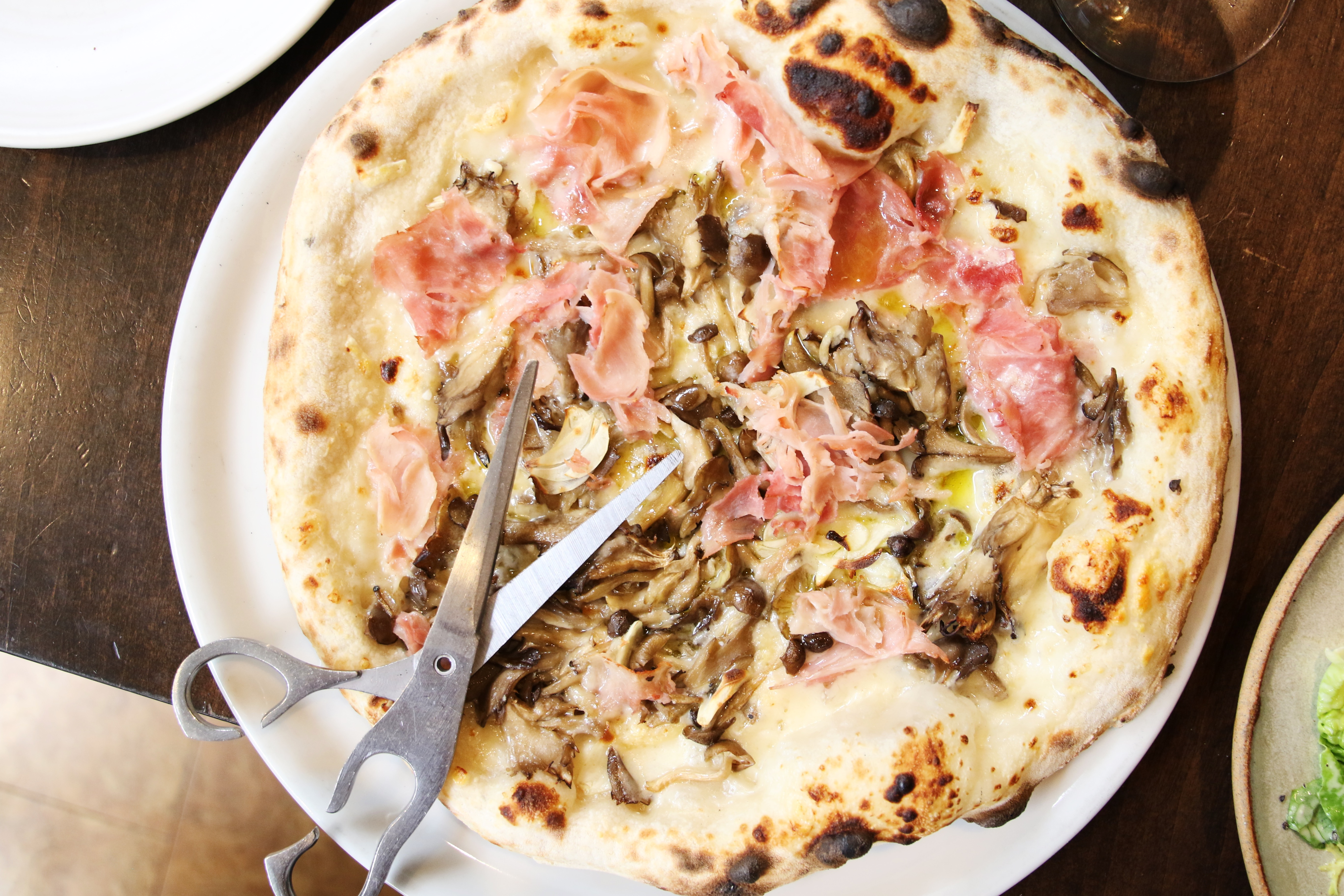 Prosciutto and Mushroom Pizza A16 restaurant review